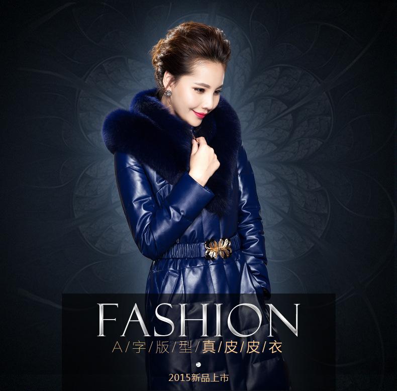 Здесь можно купить  2015 New Winter Sheep Skin Leather Jacket Fox Fur Collar Down Jacket Girls Long Section W0369  Одежда и аксессуары