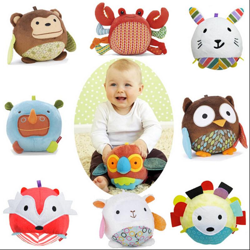 Free shipping baby animal plush soft cloth music ball kid's ball toys hand rattles bell mobiles musci ball toys SKP003(China (Mainland))