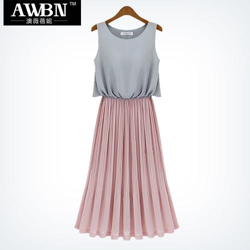 Fashion classic women's bohemia full dress colorant match pleated chiffon one-piece dress