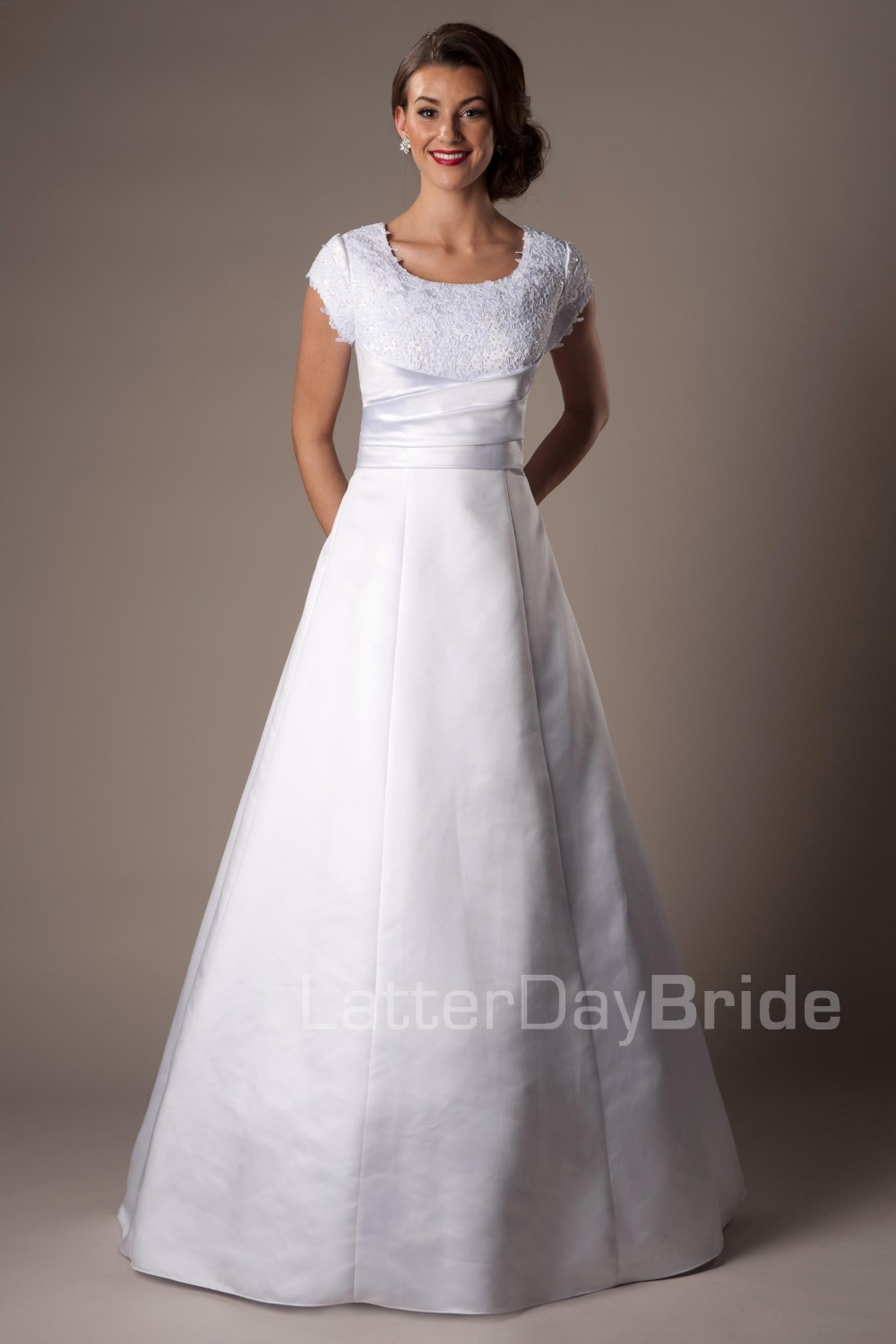 2014 new cheap modest white ball gown long floor length for Cheap modest wedding dresses with sleeves