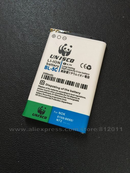 2350mAh Replacement Cell Phone Batteries BL-5C for Nokia 1100/1108/1110 and More Nokia Phone Battery free shipping(China (Mainland))