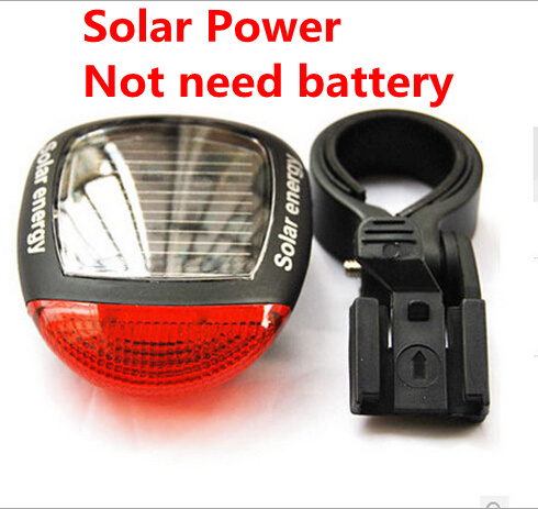Solar Power LED Bicycle Lights Bike Rear Tail Lamp Light Bike cycling Safety warning Flashing Light Lamp Red TL0301(China (Mainland))