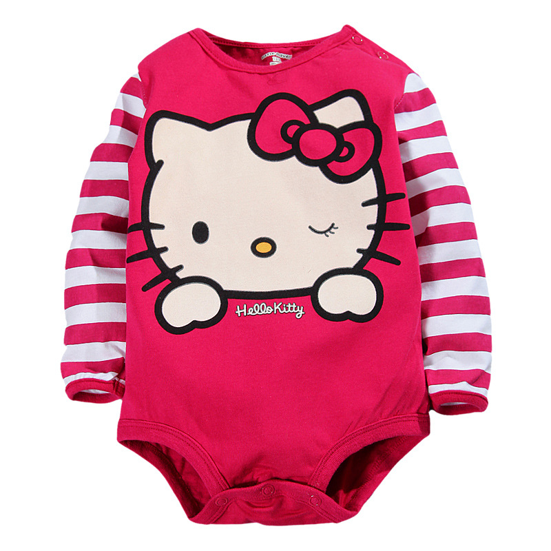 2016 baby girl clothes red hello kitty suit spring/autumn infant clothing new cotton baby romper suit 0-2 years old(China (Mainland))
