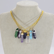 Top Selling 2014 New bullet Natural Stone Amethyst Necklaces For Women Turquoise Crystal Gem Stone Pendant Necklace