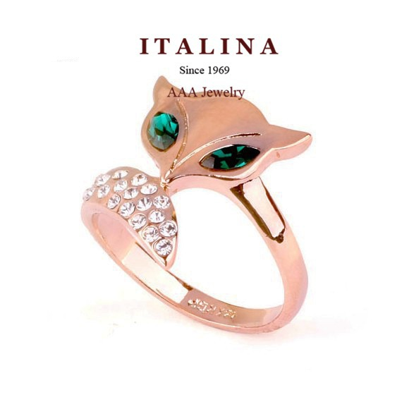 Real Rose Gold Plated Ring Jewelry Fashion Green Austrian Crystal Eyes Fox Animal Women Ring for Girls(China (Mainland))