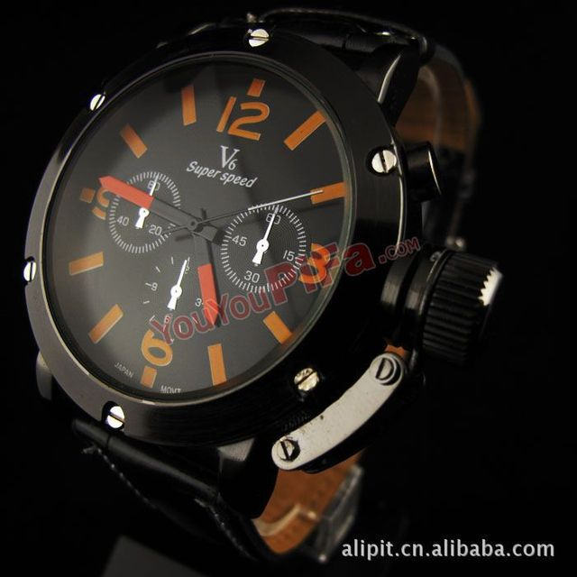 DHL30pcs/lot Free shipping Stainless Men's V6 watch Quartz watches Shiny luxury watch PU belt steel