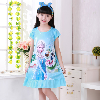 Girls Nightgowns Kids Pajamas Summer Fashion Snow Cartoon Style Short Sleeve Girls Nightgowns Dreess For Kids Girls 3-12ages(China (Mainland))