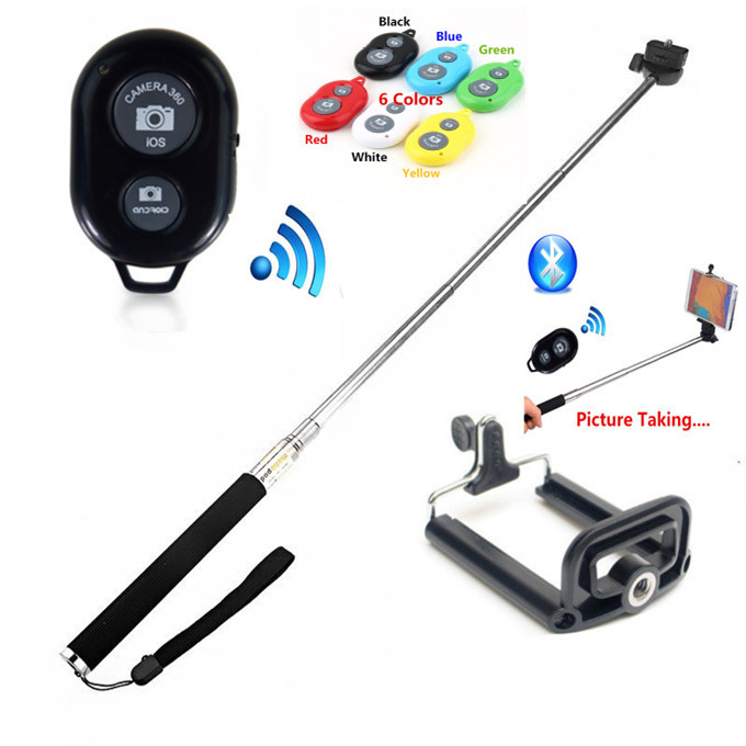 Extendable Handheld Wireless Monopod Bluetooth Stick+Bluetooth Remote Button for iPhone 4S 5 5S 6 Samsung S6 S5 S4(China (Mainland))