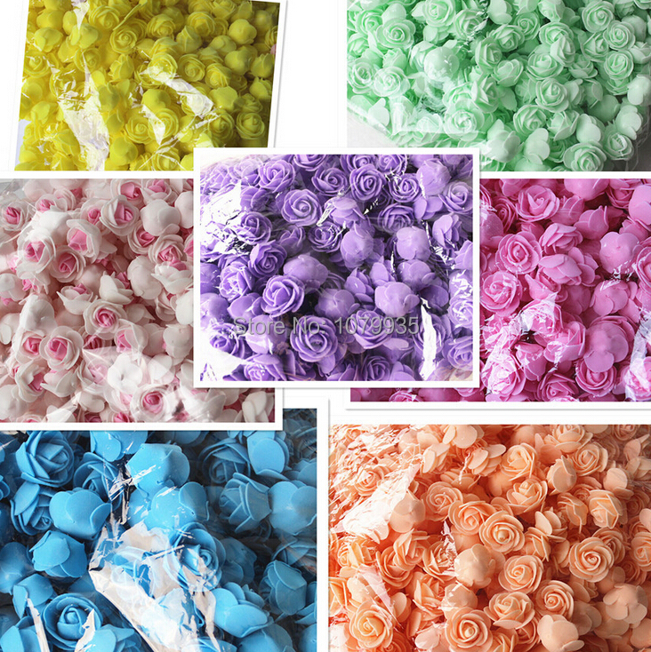 FREE SHIPPING 13Colors Wholesale 50PCS/Bag PE Foam Rose Handmade DIY Wedding Home Decoration Multi-use Artificial Flower Head(China (Mainland))