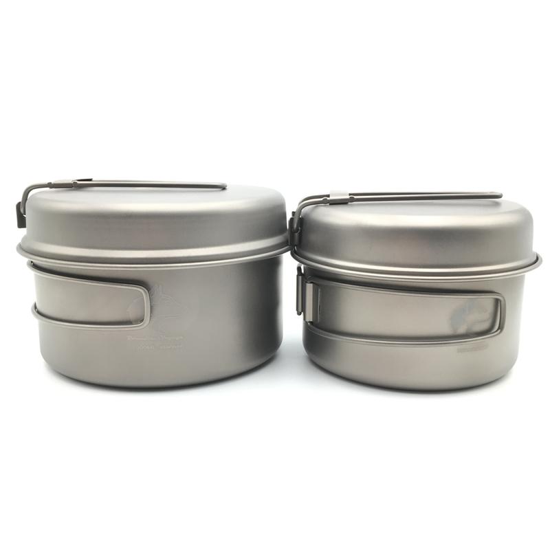 Фотография Boundless Voyage Ultralight Titanium Pot Set Camping Pot and Pan Portable Travel Cookware 347g Ti1513B