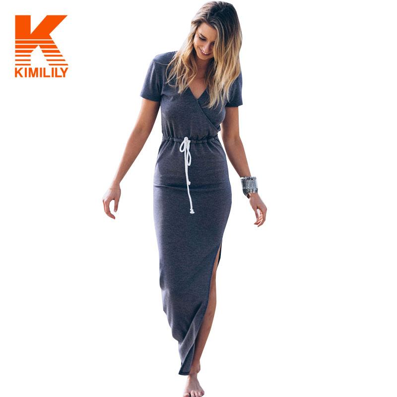 Women Summer Grey Irregular Dresses Casual High Waist Tunic Long Dress Slim Deep V-neck Short Sleeve Split Midi Dress #A62145(China (Mainland))