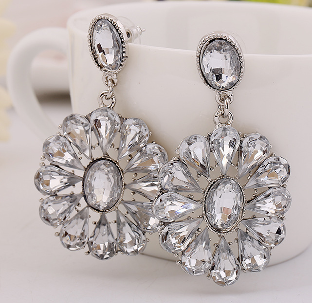 Hot Bijoux Vintage Silver Plated Ethnic Statement Drop Earrings For Women Crystal Jewelry 1E106(China (Mainland))