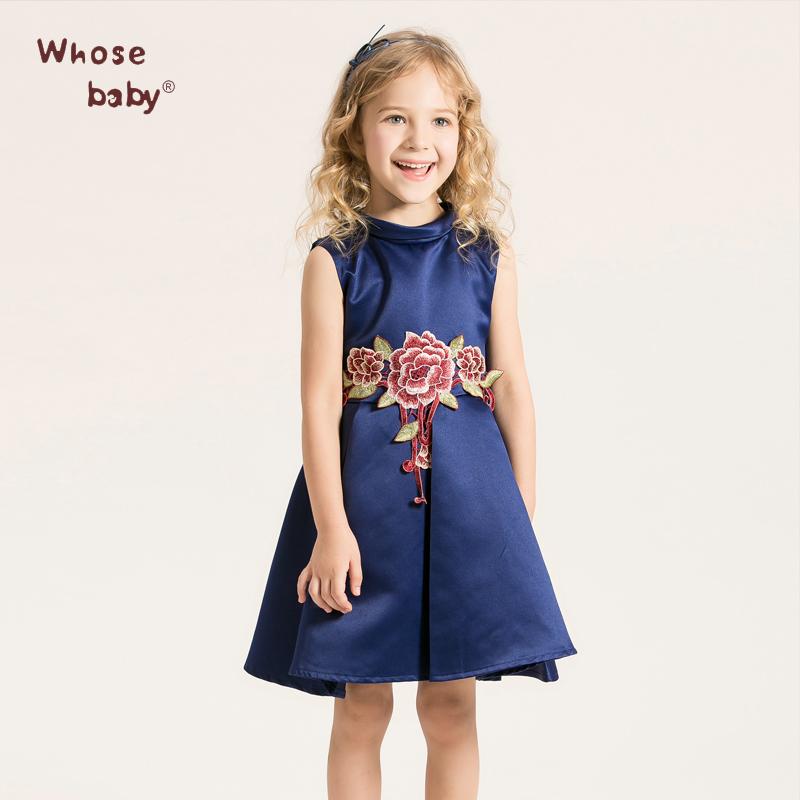Baby Girls Dresses Kids Embroidery Floral Clothes New Brand Children Dress for Girls Vestido Blue Princess Dress WHOSEBABY(China (Mainland))