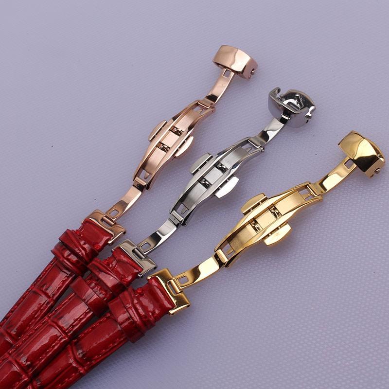 14 мм 16 мм 17 мм 18 мм 20 мм новый Хорошее качество Ремешок Для Часов Красный кожаный ремешок для часов серебро золото rosegold развертывания пряжка леди
