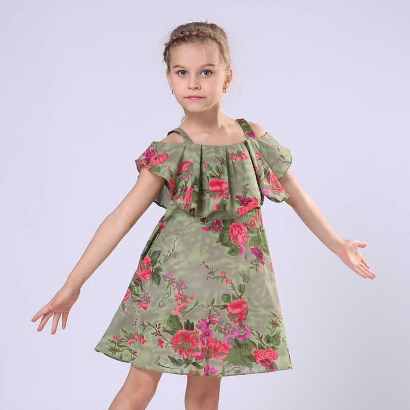 Kids Summer Dresses For Girls Print Dresses Ruffles Floral Clothes Off Shoulder Sundresses Cute Children Clothing 4 6 8 9 10T 12(China (Mainland))