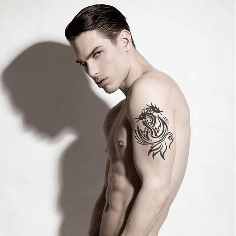 1pcs Black Body Art Tattoo Sticker Long Lasting Waterproof Men and Women Arm Shoulder Sleeves Temporary Tattoo Sticker(China (Mainland))