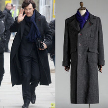 Sherlock Holmes Woolen Trench Men Coat Jacket Cape Robe Cosplay Costume-Custom (China (Mainland))