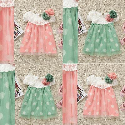 Девочки горошек с коротким рукавом кружевном платье детская летняя пляж платье 0 - 24 м