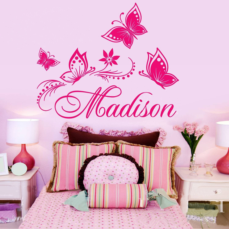Personalized Custom Name Butterflies Flower Name Vinyl Decal Sticker Wall Decoration For Girl
