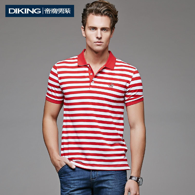 Summer 2015 Fashion Men's Striped Turn-down Collar Short Sleeve Shirt Men Top Quality Non Iron Business Casual Slim Fit T-shirts(China (Mainland))