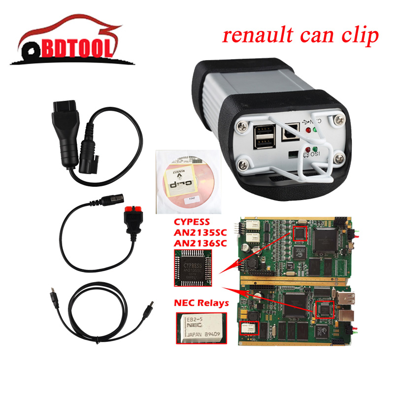 Hot sales!!! OBD2 160 Auto Diagnostic Interface Renault Can Clip With CYPRESS AN2135SC/2136SC Full Clip Multi-Language DHL Ship(China (Mainland))