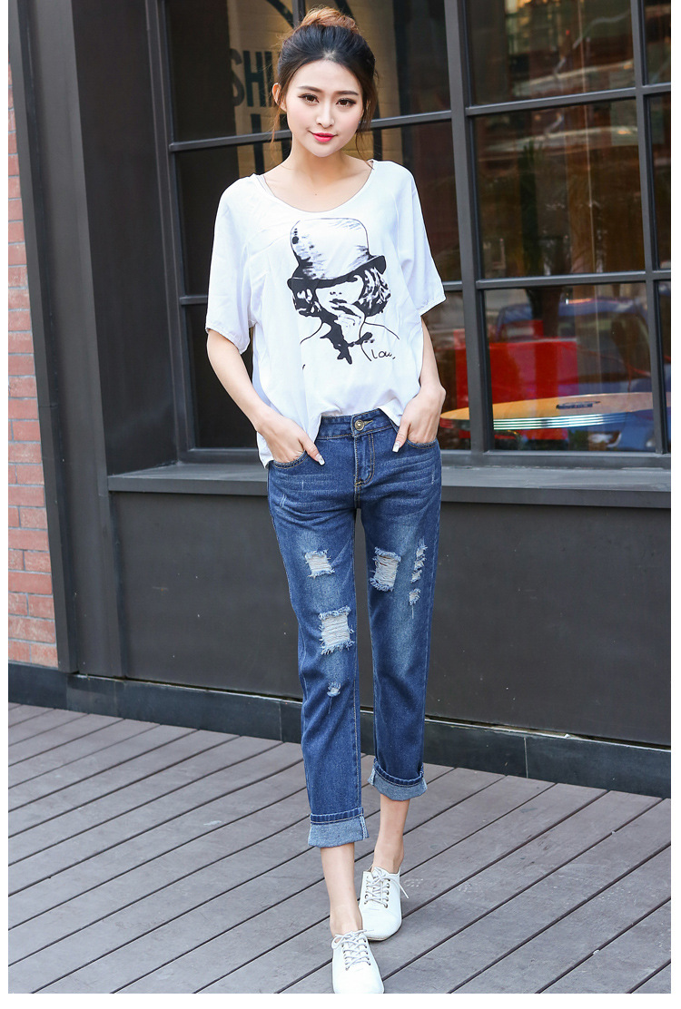 Free Shipping New Style Fashion Ladies Hole Torn Europe Loose Big Size Straight Denim Ninth