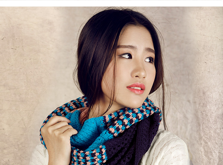 Fashion scarf multicolor patchwork women scarves knitted neck cowl wrap shawl thicken winter warm Ring Loop spain scarf