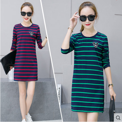 European American long-sleeved lactation dress stripe long designer maternity breastfeeding dress pregnant women straight tunic(China (Mainland))