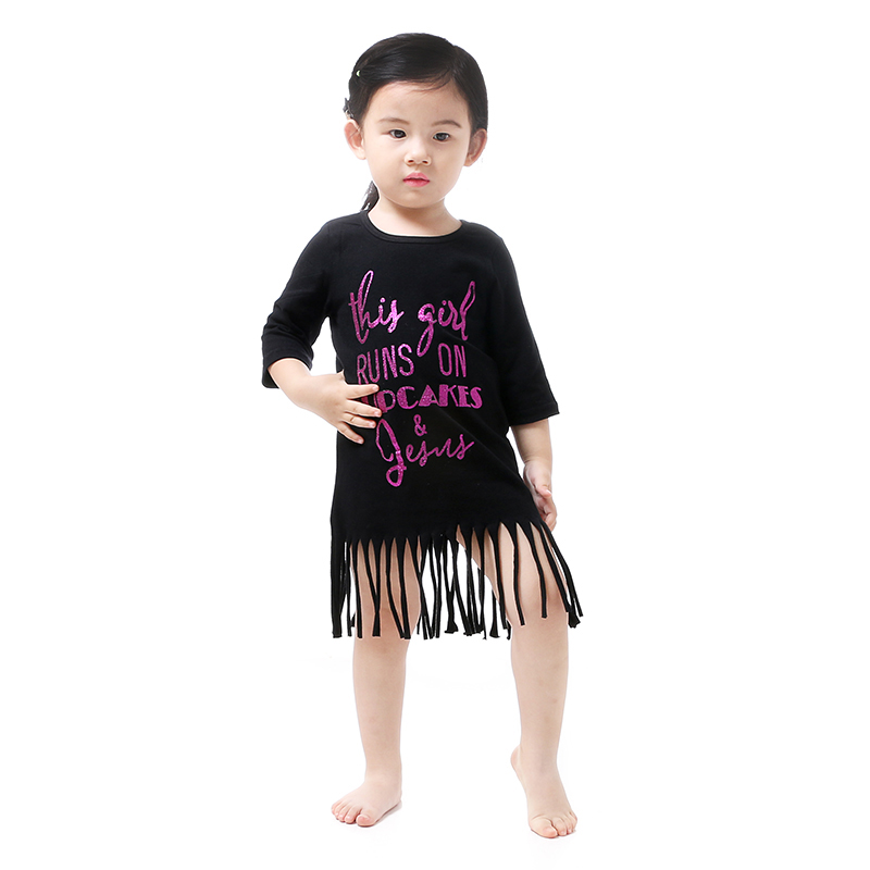 2016 KY Summer Baby Child Girl Dress Floral Printed Tassels Dresses Boutique Clothes Toddler Dresses Newborn Cotton Baby Clothes(China (Mainland))
