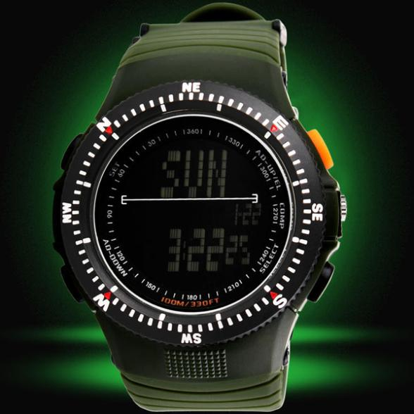 relogio militar 50M Waterproof Resin Strap Digital Outdoor Sport Army Military Watches With Dual Time Chronograph Countdown(China (Mainland))