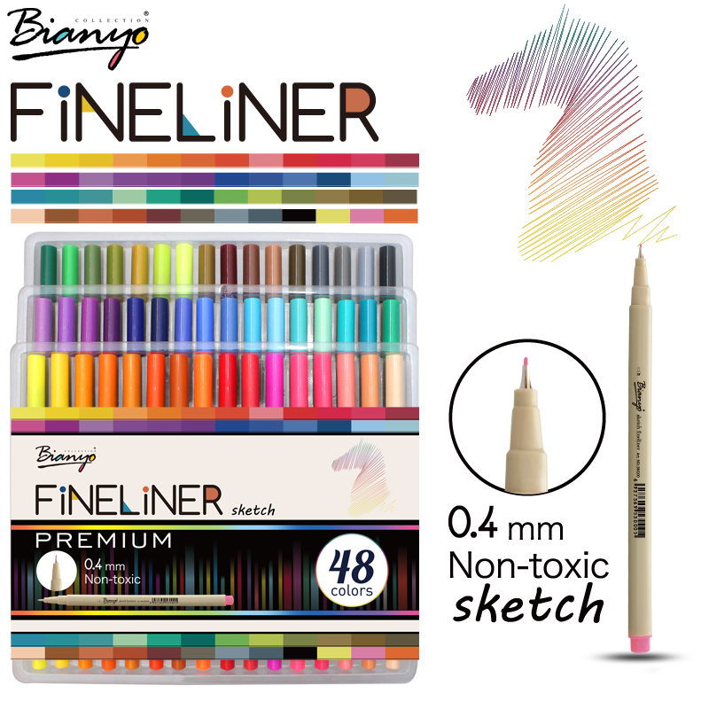 Bianyo 48 Colors Fineliner Sketch Marker Needle Drawing Pen Set For School Student Design Stationery Art