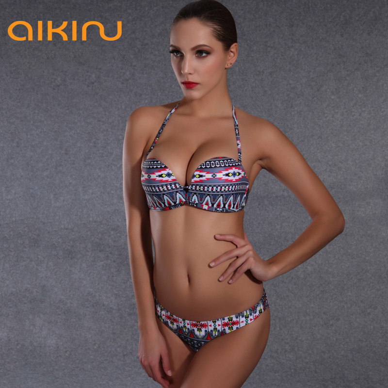 Sexy Women PushUp Swimsuit Beach Girls Swimwear Halter Bikini High Quality Padded Top Bikini Set B359(China (Mainland))