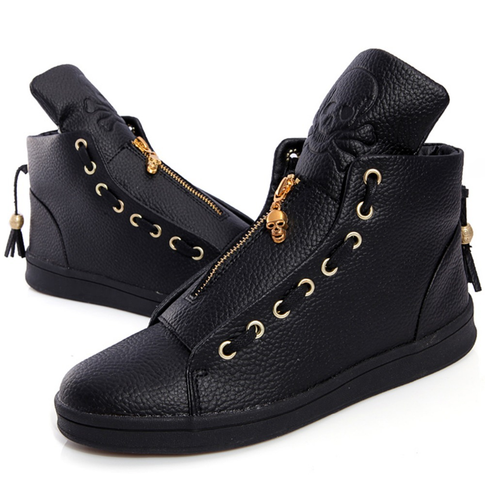 cool fashion genuine leather skull embossing sneakers