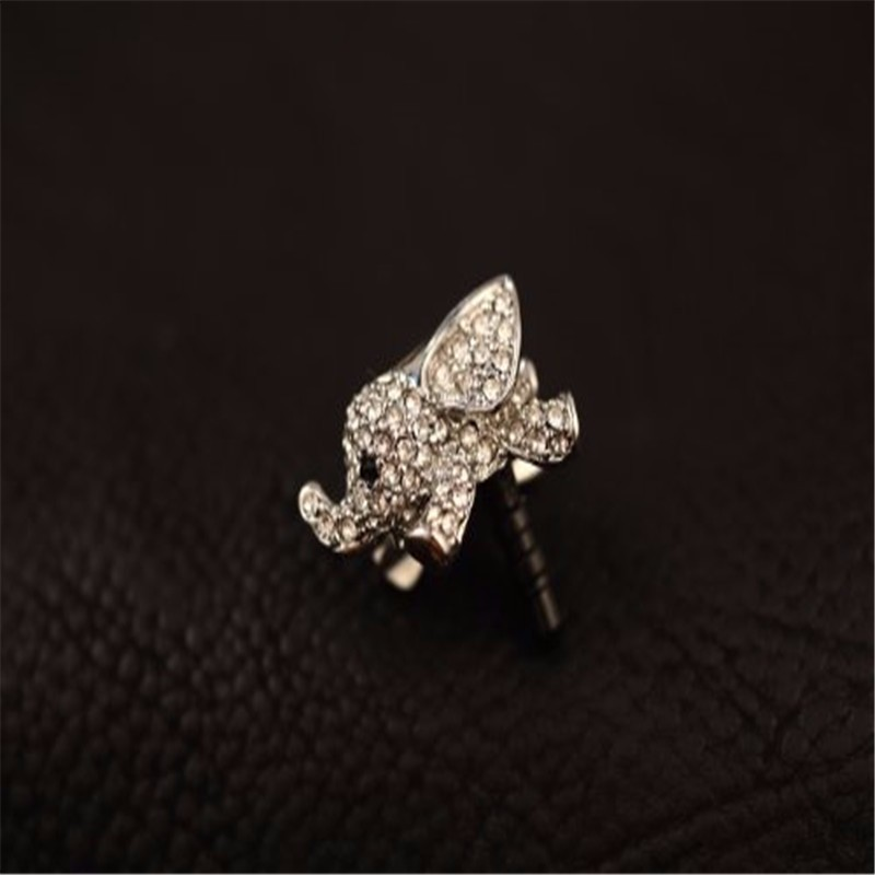 Cute Elephant with crystal Anti Dust Plug Caps cell Phone Accessories 3.5mm Earphone Jack plug for iphone7 6 6s for Xiaomi Redmi