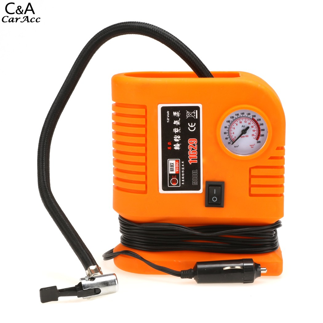 2016 New Plastic 12V Mini Air Compressor Portable Pump 250PSI With 3 Adapters For Auto Car Fast shipping US68(China (Mainland))