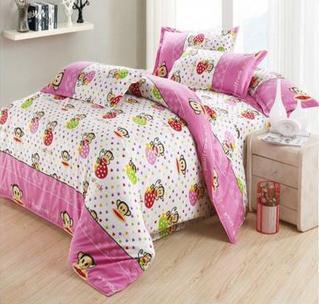 cartoon Home Textile blue monkey bedding set 4pcs for boy&girls,duvet cover/comforter/quilt/bed sheet/bed clothes/bedspread--556(China (Mainland))