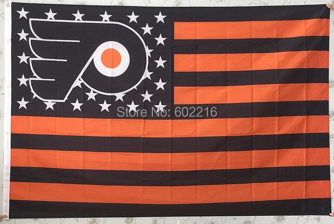 Philadelphia Flyers Stars & Stripes Flag Banner 3ft x 5ft Size No.4 144* 96cm Custom flag(China (Mainland))