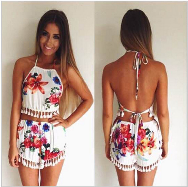 2015 new macacao feminino women beach print crop top shorts twinset two piece outfits playsuit ...