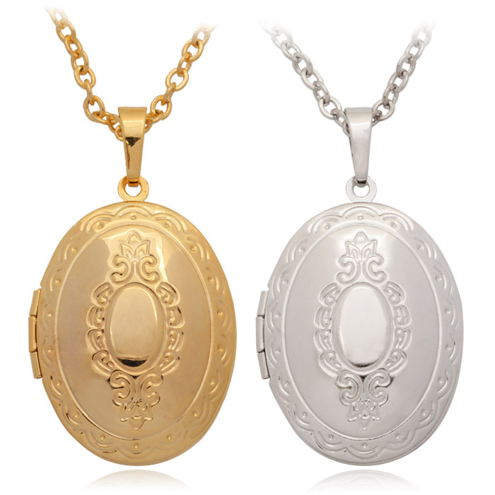 vintage oval photo frame locket pendants 18k real gold