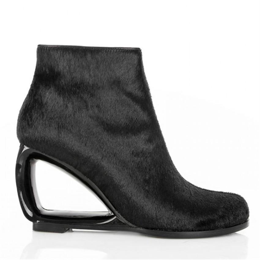 Fashion Horsehair Women Ankle Boots Genuine Leather Strange Heel Bota Feminina Black Side Zipper Botas Mujer High Heels Wedges