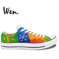 Wen Hand Painted Sneakers Design Custom Edward Christopher Snowflake Men Women s Christmas Gifts Low Top