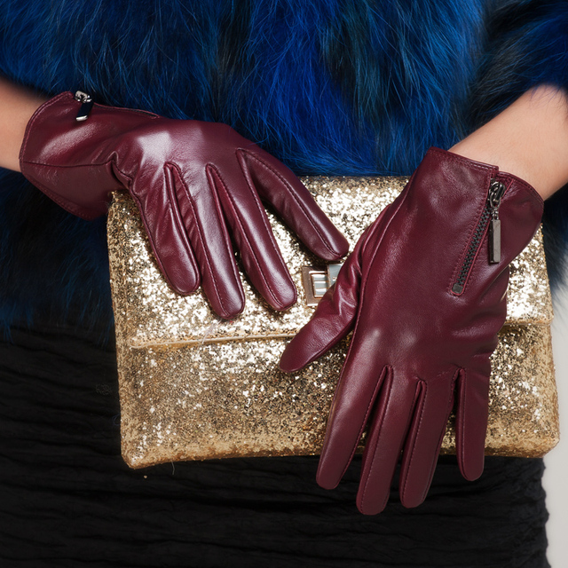 Autumn and winter genuine leather women's thermal women's fashion gloves