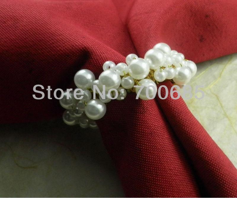 white pearl napkin ring beaded wedding napkin ring cheap