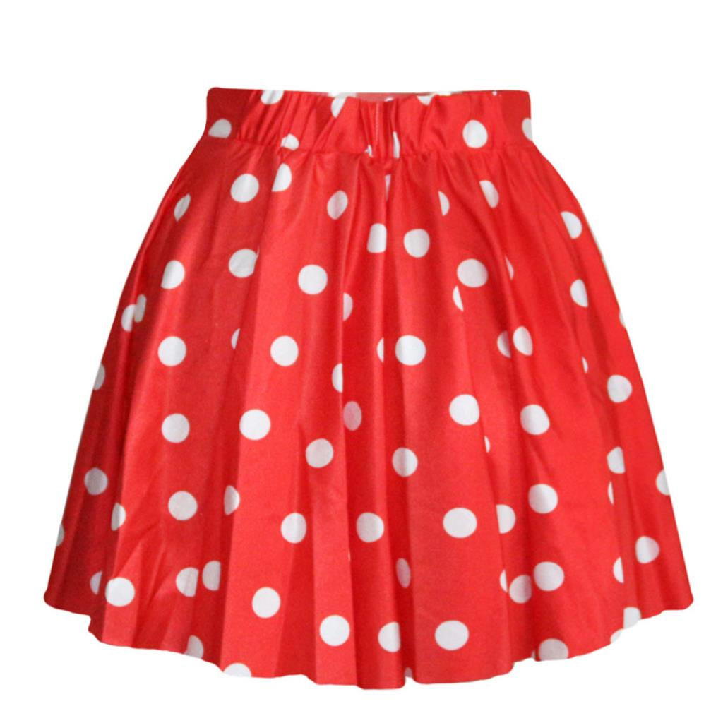 Polka Dot Puff Bust Skirt Stylish Women Pleated Skater Skirt Dots Ball Gown Mini Skirts Saia Colored Short Skirt(China (Mainland))