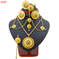 Big size Ethiopian jewelry sets 18K Gold plated hair jewelry 6pcs sets African jewelry for Ethiopian