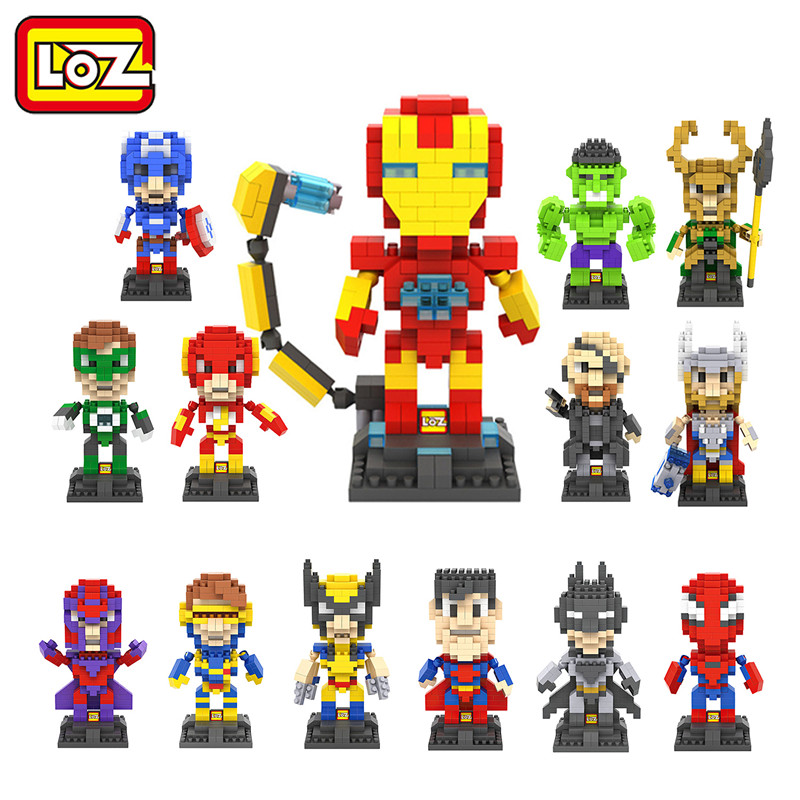 Hot Avengers Deadpool Captain America Hulk Iron Man Thor Loki Diamond Building Blocks Action Figure Children DIY Toy(China (Mainland))