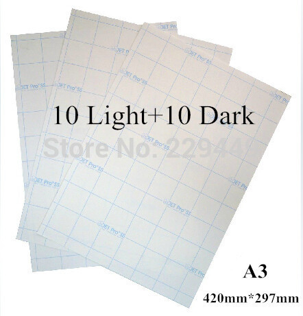 A3 Paper 20pcs=10pcs Light+10pcs Dark Inkjet Heat Hot Transfer Printing Paper A3 Heat Transfers For Clothes With Heat Press(China (Mainland))