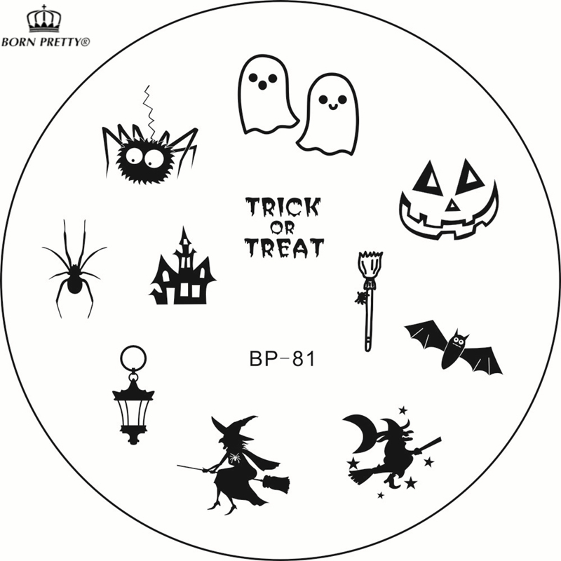New Nail Stamping Plates BP-81 Halloween Nail Art Stamp Template Witch Ghost Spider Image Stamp Plate BORN PRETTY BP81 #23264(China (Mainland))