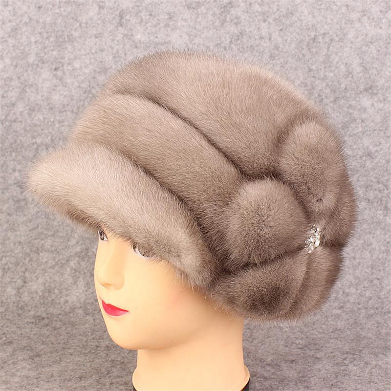 Фотография Women fur hat winter real mink fur hats for women  Flowers skullies beanie 2016 new arrival fahion high-end  fur caps
