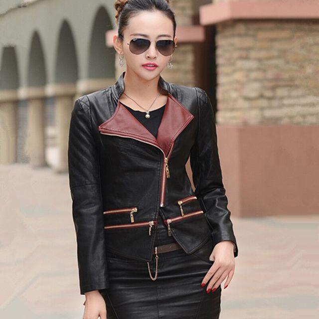 M-3XL 2015 autumn Женщины leather jacket coat Модный Молния plus Размер skin jacket ...